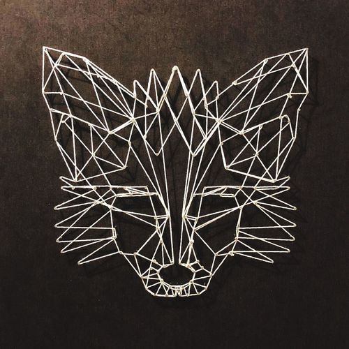 String art. Fox. Art And Craft No People Pattern Creativity Shape Night Illuminated Design Black Background