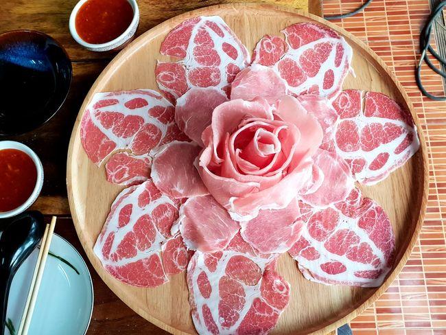 Chabu Pork Table High Angle View Plate Close-up Food And Drink