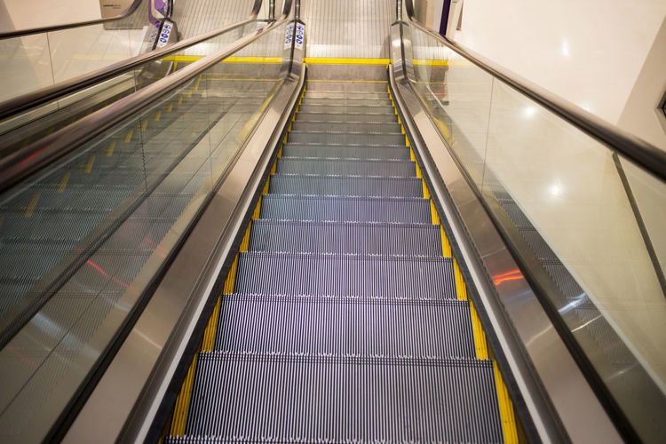 High angle view of empty escalator