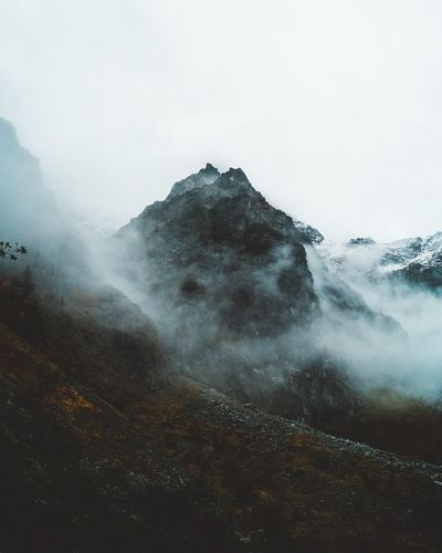 Lost In The Landscape Beauty In Nature Nature Mountain Scenics Fog Geology Tranquil Scene Physical Geography No People Day Outdoors Tranquility Cold Temperature Mist Landscape Winter Sky Hot Spring