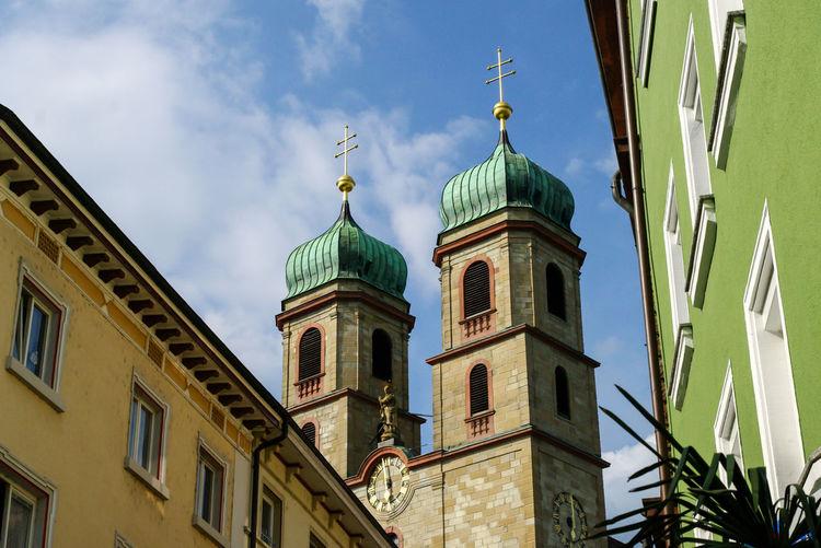 View on the St. Fridolinsmünster church of Bad Säckingen, Germany Church Architecture Bad Säckingen Blue Sky Building Built Structure Cross Day Europe Germany Landmark Low Angle View No People Old Outdoors Place Of Worship Religion Sky Spirituality Summer Tourism Towers