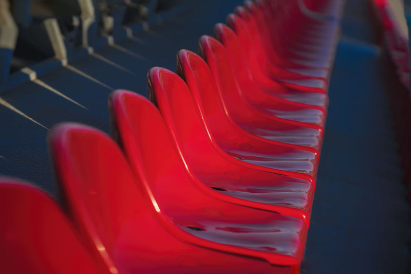 Close-up of red seats