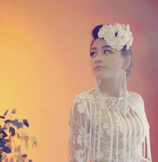 Tassels White Tassels Flower Fashion Studio Shot One Person Indoors  Lifestyles Standing Headdress Portrait Close-up People Real People