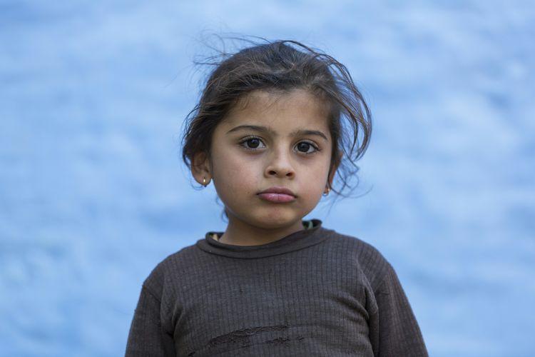 A little kid at Jaisalmer. Jaisalmer Girl Blue Kid Portrait Cute Children Rajasthan India Showcase: December Blue Wave The Portraitist - 2016 EyeEm Awards