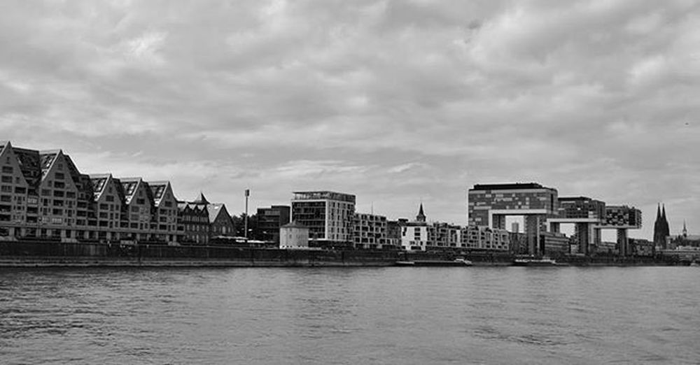 Tb to Cologne Köln Rhein Kranhäuser Skyline Water River Cgn Bw Blackandwhite Photography Panorama Enlargemyphoto