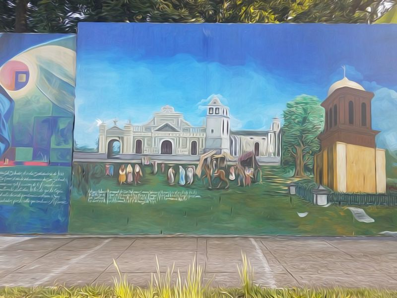 Murales elnsalvador Elsalvadorimpresionante Architecture Building Exterior Built Structure Outdoors Day Place Of Worship Blue Arch In Front Of