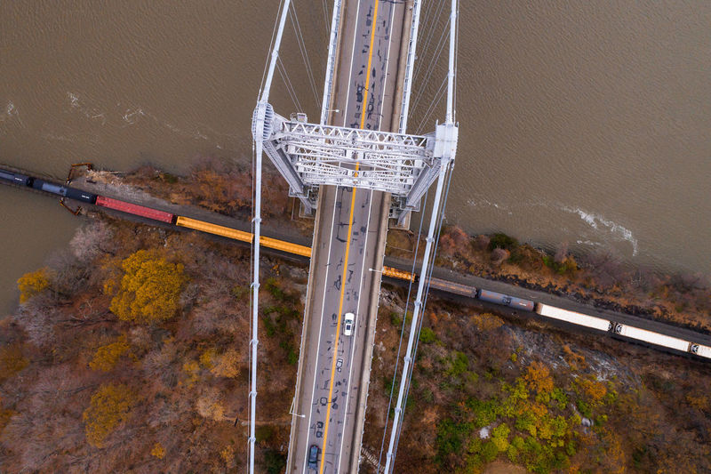 Drone  Drones New York Architecture Bridge - Man Made Structure Built Structure Connection Day Dji Drone Photography Dronephotography Droneshot High Angle View Motion Mountain Nature No People Outdoors Road Speed Transportation Water