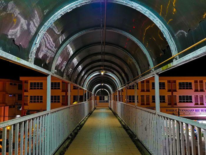 City Illuminated Corridor Architecture Built Structure Archway