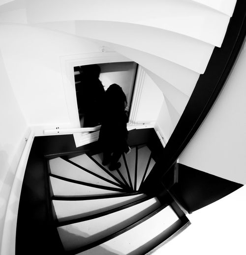 I see reality differently through 12mm Black And White Stairs Canon 6d + Down The Stao From Above  Going Doen Mysterious Person Samyang 12mm Fisheye Stairs Steps Ahead