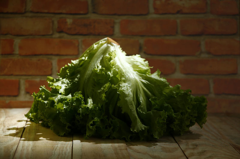 alface lettuce Leaf Alface Crespa Alface Chopped Day Raw Food Plant Part Still Life Wood - Material Wall - Building Feature Wall Table Brick Wall Close-up No People Brick Indoors  Green Color Wellbeing Vegetable Healthy Eating Freshness Food And Drink Food Lettuce