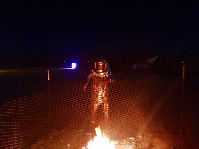 Fire, fire suit, dancing, night, fun, wasteland