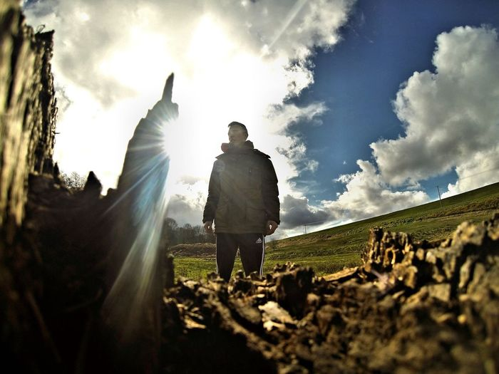 Into the Light ❤️ Sunlight Standing Full Length Sky Rear View Men Cloud - Sky Cloud Sunbeam Day Lens Flare Outdoors Tranquility Sun Nature Tranquil Scene Solitude Rural Scene Countryside