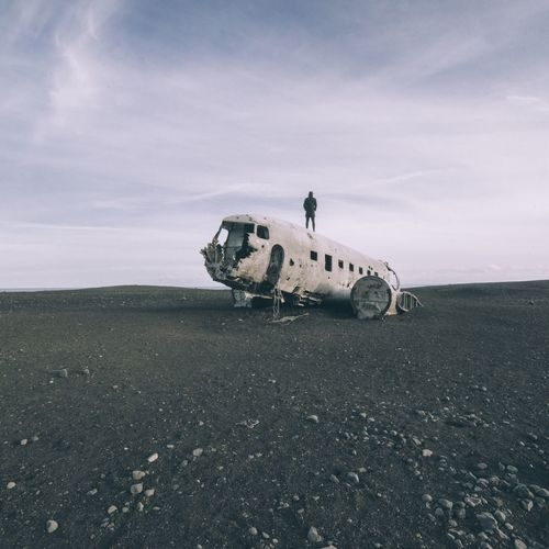 Abandoned Airplane Travel Military Airplane No People Obsolete Crash