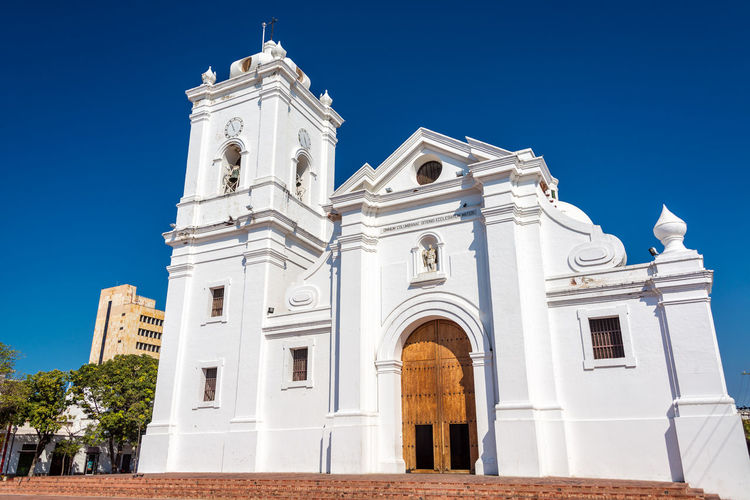 Low Angle View Of Santa Marta Cathedral Against Clear Blue Sky