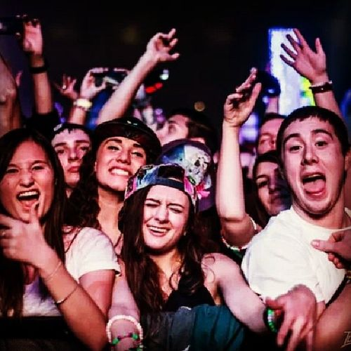 I've posted this pretty much everywhere by now but WHATEVER because someone finally captured my bassface and I want the world to see it Bassnectar Basslights Hampton Themothership frontrow railrider bassface