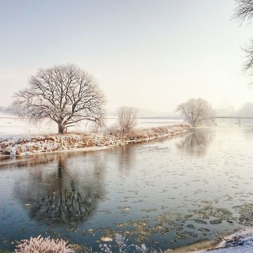 Trebsen Mulde Fluss Winterlandschaft Reflection Tree Sky Water Nature No People Beauty In Nature Tranquility Sunset Bare Tree Outdoors Day Trebsen Mulde Winterlandschaft