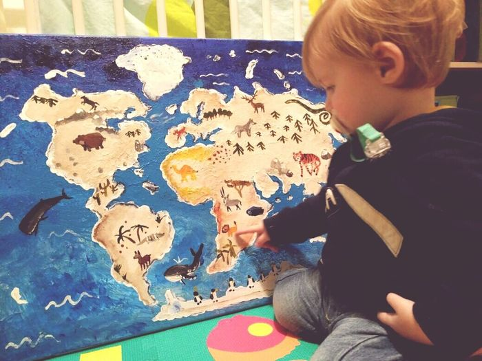 Child Childhood Children Only Leisure Activity Blond Hair Indoors  December2016 Winter 2016 Love My Family Love My Nephew Alexander Little Boy Playing Map Acrylic Painting Christmas Present