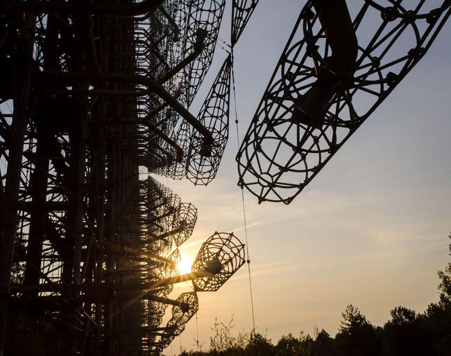Low angle view of silhouette ferris wheel against sky during sunset