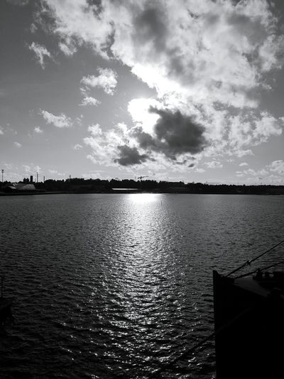 Water Tranquility Sky Outdoors No People Cloud - Sky Nature Scenics Beauty In Nature Dark And Light Finland Blackandwhite Harbour Summer Evening Sun Sea