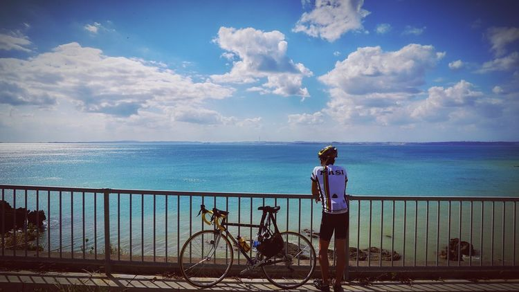 Cycling Along Blue Ocean Sky_collection Trip Bike Okinawa Japan Travel Enjoying Life Celebrate Your Ride Feel The Journey On The Way