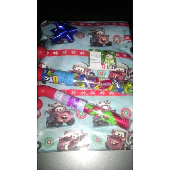 Thank you so much mi amors :) I freaking love my present :) I love you so much amors :) I hope you love your present I gave you baby :) Towmaterwrappingpaper Jollyranchers Spree Itsa____