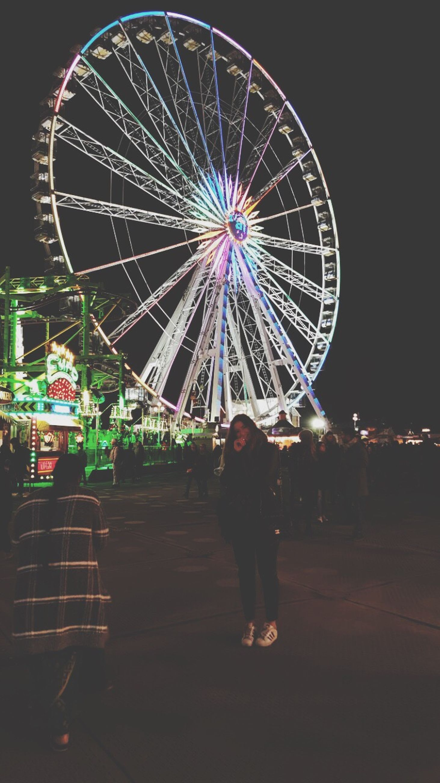 ferris wheel, illuminated, night, full length, rear view, amusement park, one person, sky, people, outdoors, adult