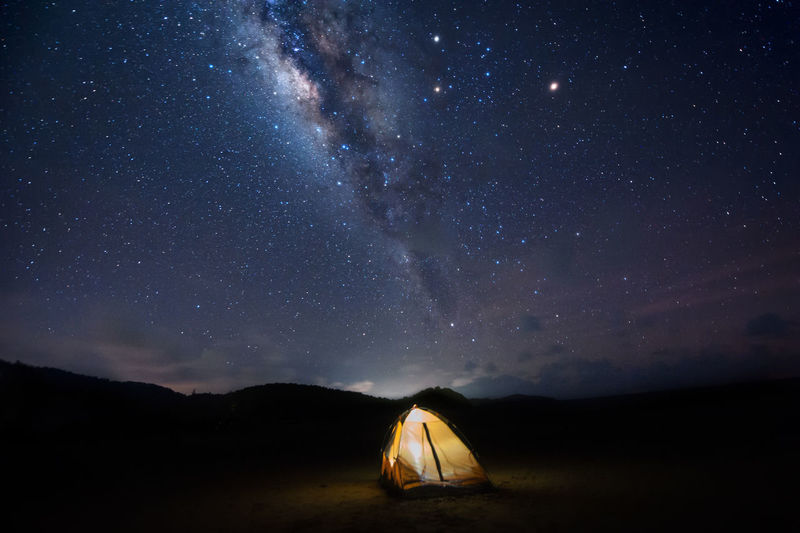 Illuminated Tent On Landscape Against Star Field At Night