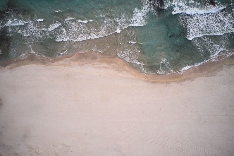 High angle view of rock on beach