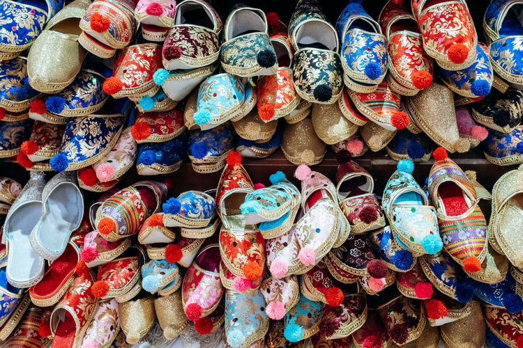 Full frame shot of shoes for sale at market stall