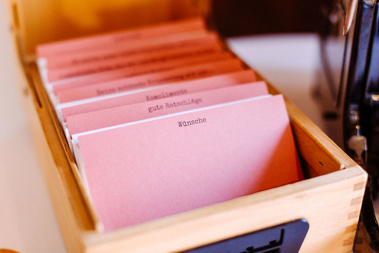 Wood box with cards Box Business Meeting Learning Wedding Photography Wishes Advices Card Close-up Communication Day Idea Indoors  Knowledge No People Paper Text