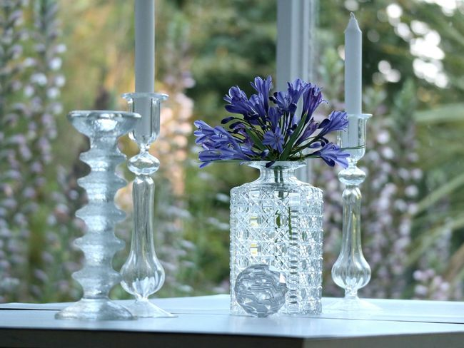 Molded, blown & cut glass Glass Glassware Glassware Collections Cutglass Iittala Candlestick Decanter Flower Table Focus On Foreground Day No People Flower Head Indoors  Luxury Fragility Quality Close-up Freshness