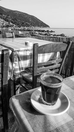 Bnw_friday_eyeemchallenge Bnw_coffee Blackandwhite Black And White Black & White Blackandwhite Photography Bnw_collection Coffee - Drink Drink Sea Outdoors Nature Life Is A Beach Travel Traveling Eye4photography  Landscape Landscapes The Great Outdoors - 2017 EyeEm Awards EyeEm Gallery Coffee Coffee Time Coffee Break Food And Drink Greece