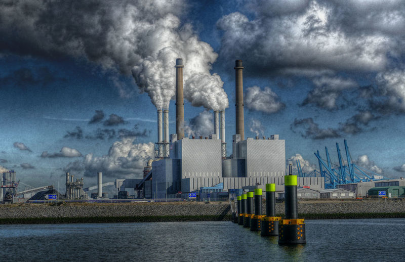 the Cloud Factory Air Pollution Built Structure Charcoal Chimney Cloud - Sky Co2 CO2 Emissions Day Evironment Factory Harbor Industry Maasvlakte No People Outdoors Power Plant Sky Smoke - Physical Structure Smoke Stack EyEmNewHere