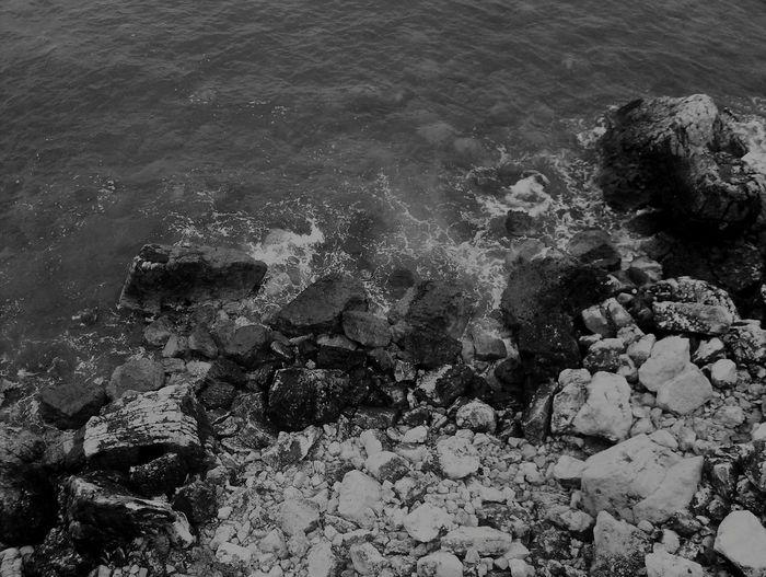 Sea Rocks Ocean Beach Black And White A Bird's Eye View