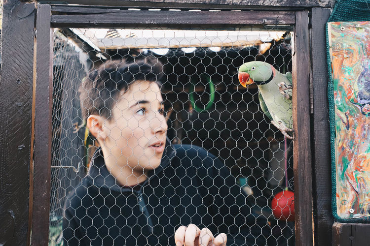 Portrait of young man seen through chainlink fence