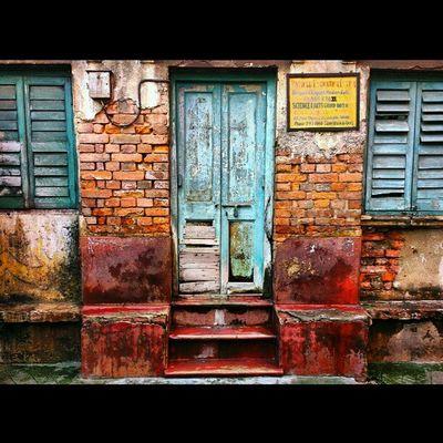 Rectangles of the past. Old Calcutta Kolkata Incrediblecalcutta door window urban decay brick wall shutter blue india heritage bengali
