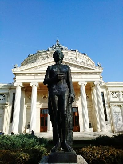 The Poet, Mikhail Eminescu, the Music and Eternity. Sunny day at Romanian Atheneum Aimiamos Transmedia Kibou Storytelling Street Photography Bucharest Urbanphotography Socialflotribute Discover Romania Showcase: December Streetphotography Urbanexploration Architecturelovers Taking Photos Urban Architecture Architecture Statues Proud To Be Romanian