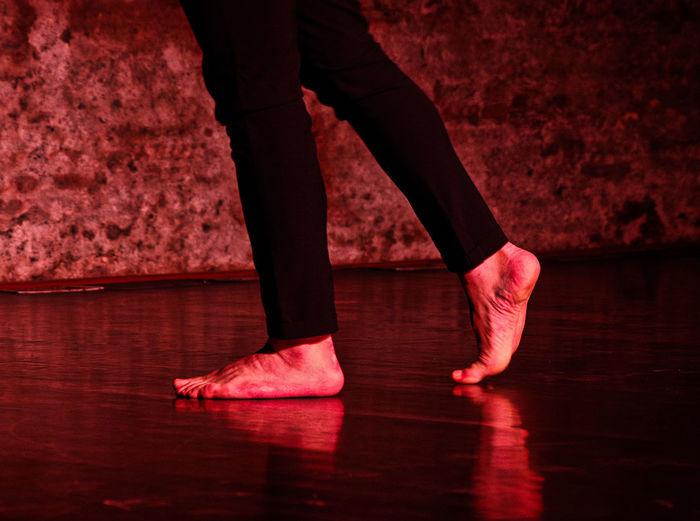Low Section Red Human Leg Ballet Studio Dance Studio