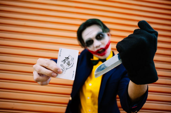 Casual Clothing Close-up Cosplay Focus On Foreground Joker Leisure Activity Lifestyles Portrait The Joker Wood - Material The Portraitist - 2016 EyeEm Awards