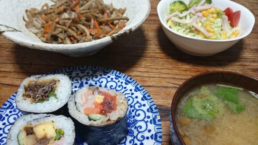 恵方巻(笑)、きんぴら、味噌汁、サラダ!Relaxing Food Foodies Yummy Foodpics Foodphotography Foodstagram Foodporn In My Mouf Taking Pictures Taking Photos Foodgasm In My Mouth  Japanese Food Japan Enjoying A Meal Sushi Sushi Time