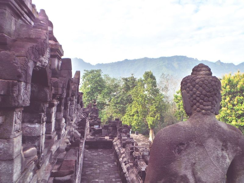Religion Mountain Old Ruin Tourism Sky Travel Destinations Place Of Worship UNESCO World Heritage Site INDONESIA Java Borobudur Tranquil Scene Ancient Famous Place Steps Ancient Civilization Stone Material Ruined Weathered The Past Temple - Building Day