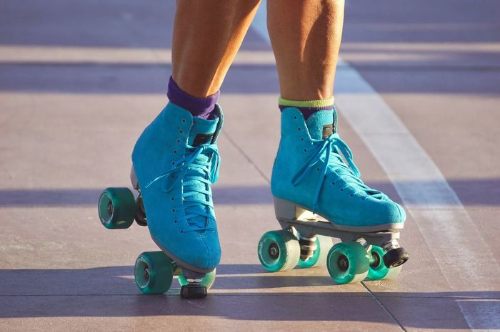 Exercising Fun Woman Awesome Blue Close-up Colorful Day Focus On Foreground Human Leg Legs Leisure Activity Lifestyles Low Section One Person Outdoors Real People Roller Skate Rollerskate Rollerskates Rollerskating Socks