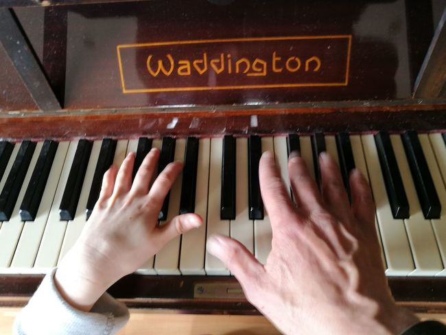 Piano Moments Playing Music Furniture Music Eye4photography  Piano Keyboard  Indoors  Close-up Human Hand Human Body Part Childs Hand adult hand Dual Playing Piano Moments