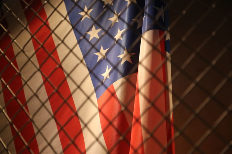 Backgrounds Close-up Fence Flag Full Frame Indoors  Locked Up No People Patriotism Pattern Stars And Stripes