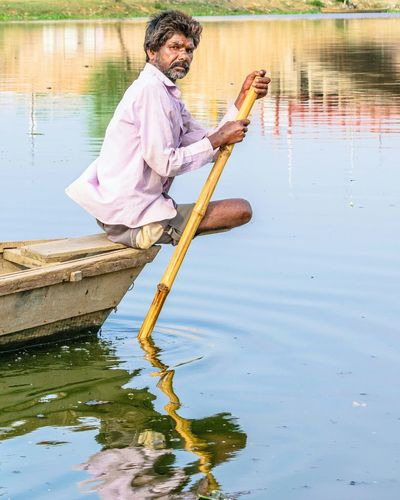 Water Reflection One Man Only Outdoors Fishing Nature River Lucknow India Wet Rowing Rowingboat Fisher Fisherman Fishermenboat Nikon Nikonphotography NIKON D5300 Nikon_photography_ Boatlife Rural Scene Rural Rural Life Eyem Nature Lovers  EyEmNewHere