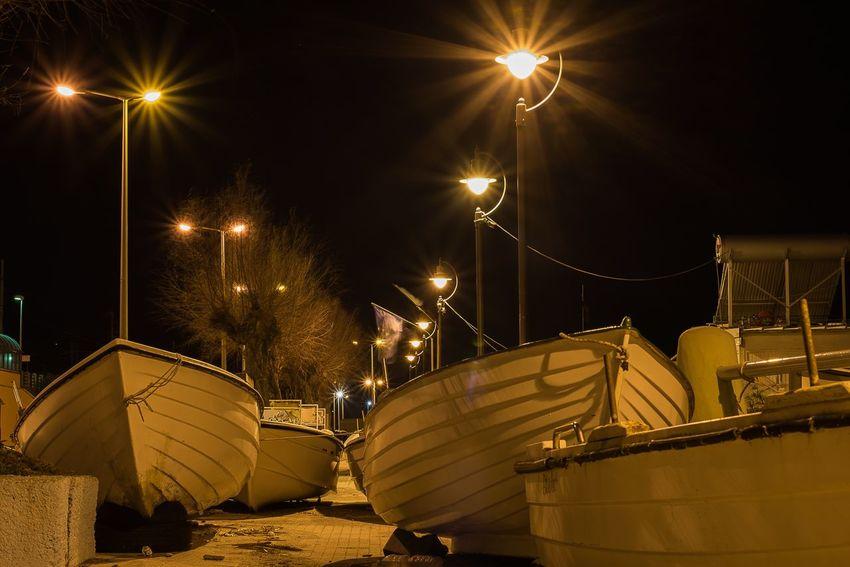 Boats in the night light Illuminated Night Street Light Transportation No People Outdoors Sky Nautical Vessel
