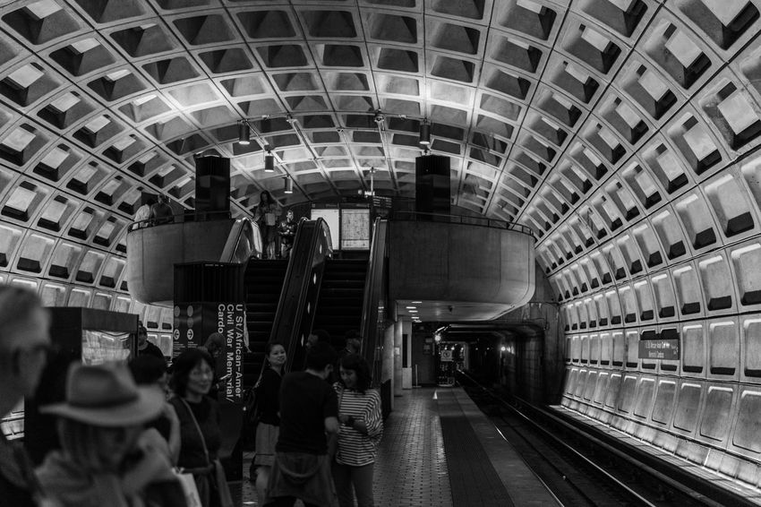 City Life Day Journey Leisure Activity Lifestyles Medium Group Of People Metro Public Transportation Railroad Track Station Subway Subway Station The Architect - 2016 EyeEm Awards The Street Photographer - 2016 EyeEm Awards Train Transportation Building - Type Of Building Washington, D. C.
