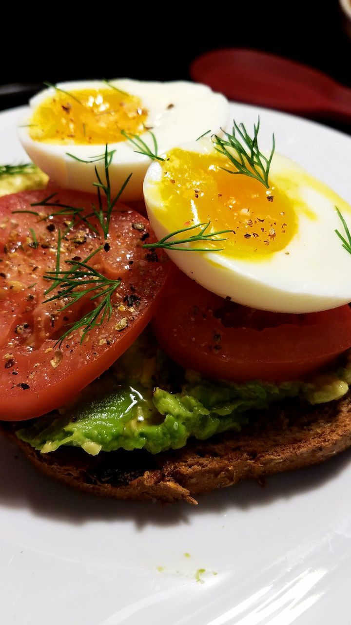 food, food and drink, freshness, egg, plate, ready-to-eat, indoors, egg yolk, breakfast, close-up, no people, bread, healthy eating, poached, day