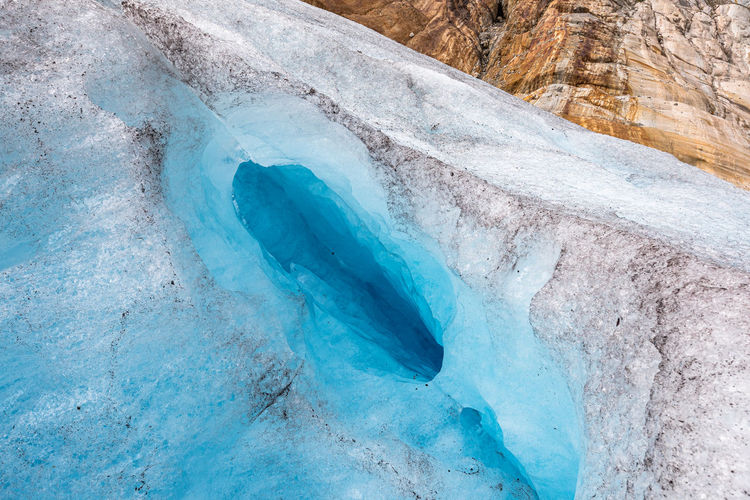 High angle view of glacier on landscape