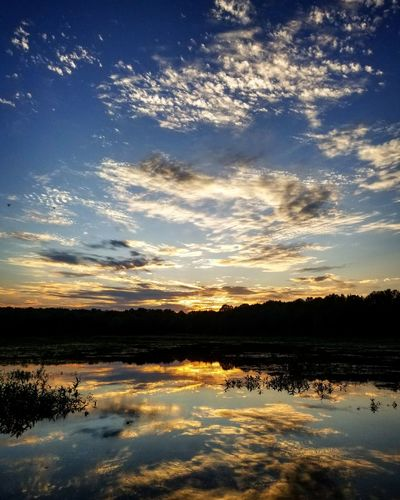 Sunset Reflection Nature Water Tranquil Scene Beauty In Nature Sky Cloud - Sky Clouds Outdoors Scenics No People Lake Landscape First Eyeem Photo EyeEmNewHere